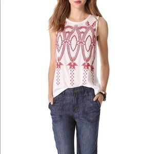 Madewell White Red Embroidered Tank Large